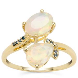 Ethiopian Opal Ring with Blue Diamond in 9K Gold 1.38cts