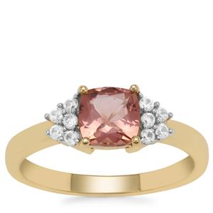 Rosé Apatite Ring with White Zircon in 9K Gold 1.15cts