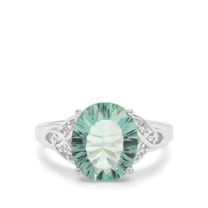 Tucson Green Fluorite & White Zircon Sterling Silver Ring ATGW 5.16cts