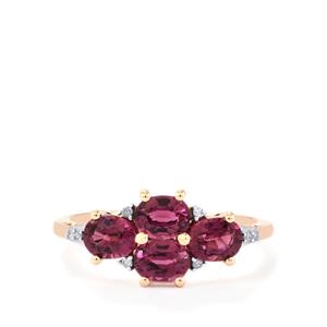 Comeria Garnet Ring with Diamond in 10k Rose Gold 1.97cts