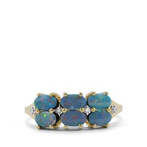 Crystal Opal on Ironstone & Diamond 9K Gold Ring