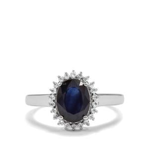 Madagascan Blue Sapphire & White Topaz Sterling Silver Iconic Ring ATGW 2.72cts