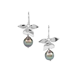 Tahitian Cultured Pearl Sterling Silver Earrings (13 X 11.30mm)