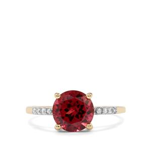 Mahenge Garnet Ring with White Zircon in 10k Gold 2.60cts