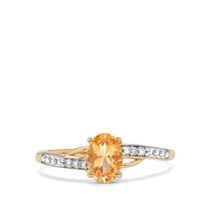 Ouro Preto Imperial Topaz & Diamond 9K Gold Ring ATGW 0.89cts