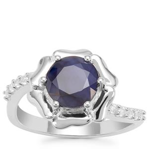 Madagascan Blue Sapphire Ring with White Zircon in Sterling Silver 2.60cts