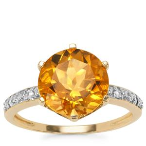 Rio Golden Citrine Ring with White Zircon in 10k Gold 3.53cts