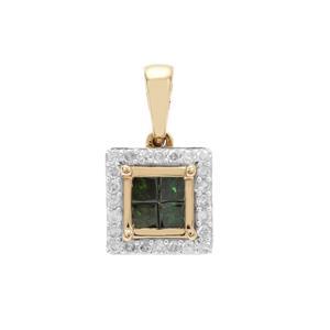 1/2ct Green & White Diamond 9K Gold Pendant
