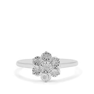 1/20ct Diamond Sterling Silver Halo Diamonds Ring