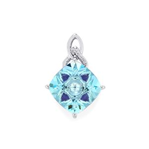 Lehrer KaleidosCut Sky Blue Topaz, Amethyst Pendant with Diamond in 10K White Gold 6.74cts