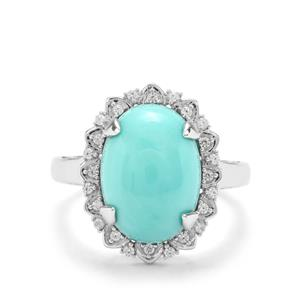 Sleeping Beauty Turquoise & White Zircon Sterling Silver Ring ATGW 5.27cts