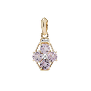 Andhra Pradesh Spinel Pendant with White Zircon in 9K Gold 1.14cts