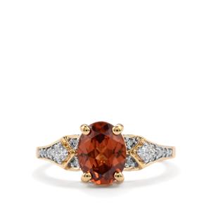 Zanzibar Sunburst Zircon Ring with Diamond in 18k Gold 2.65cts
