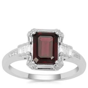 Octavian Garnet Ring with White Zircon in Sterling Silver 2.14cts
