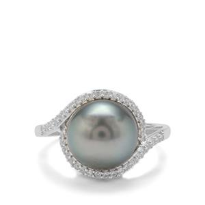 Tahitian Cultured Pearl Ring with White Zircon in Sterling Silver (11mm)