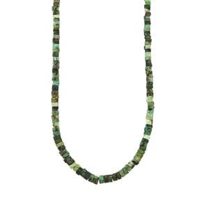 Carnaiba Brazilian Emerald Graduated Bead Necklace in Sterling Silver 66.28cts