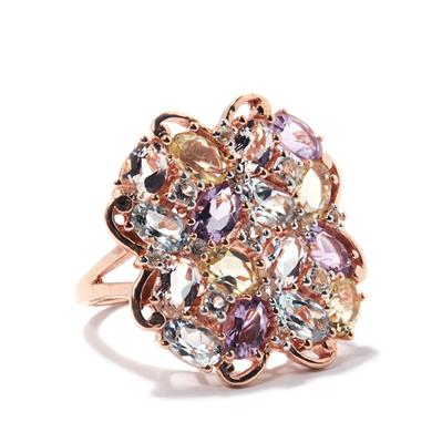AMETHYST AND MORGANITE GOLD PLATED STERLING SILVER RING 10.42CTS