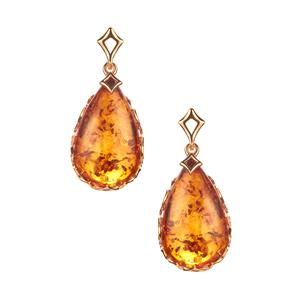 Baltic Cognac Amber Earrings  in Gold Tone Sterling Silver (23x14mm)
