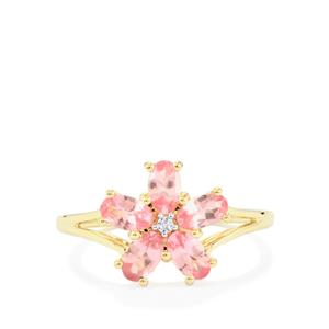Mozambique Pink Spinel Ring with White Zircon in 9K Gold 1.27cts