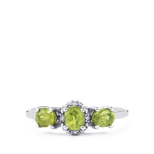 Ambanja Demantoid Garnet & Diamond 9K White Gold Ring ATGW 1.06cts