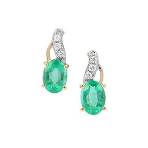 Ethiopian Emerald Earrings with White Zircon in 9K Gold 1.72cts