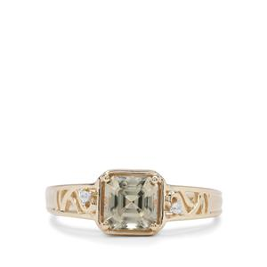 Asscher Cut Csarite® Ring with White Zircon in 9K Gold 1.35cts