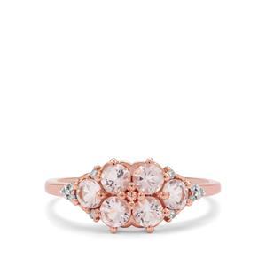 Cherry Blossom™ Morganite & Diamond 9K Rose Gold Ring ATGW 0.97ct