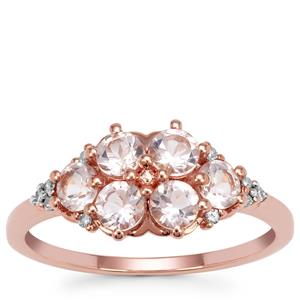 Cherry Blossom™ Morganite Ring with Diamond in 9K Rose Gold 0.97ct