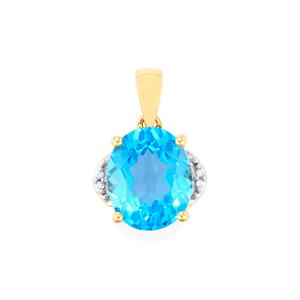 Swiss Blue Topaz Pendant with White Zircon in 10k Gold 5.75cts