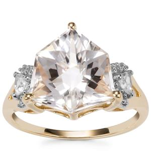 Wobito Alpine Cut Optic Quartz Ring with White Zircon in 9K Gold 4.59cts