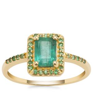Zambian Emerald Ring with Tsavorite Garnet in 9K Gold 1.19cts