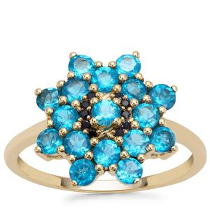 Neon Apatite Ring with Ceylon Blue Sapphire in 9K Gold 1.65cts