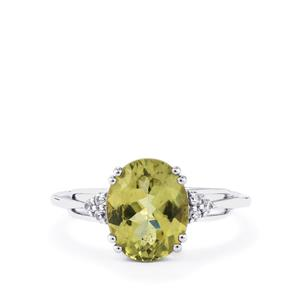 Ilakaka Natural Green Apatite Ring with White Zircon in 10k White Gold 2.92cts