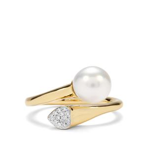 South Sea Cultured Pearl & Diamond 18K Gold Ring (8mm x 7mm)