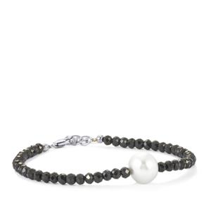 South Sea Cultured Pearl & Black Spinel Sterling Silver Graduated Bead Bracelet