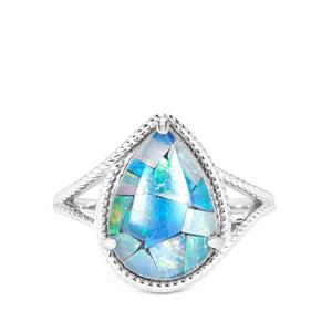 Mosaic Opal Sterling Silver Ring (14x9.5mm)