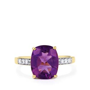 Zambian Amethyst Ring with White Zircon in 10K Gold 3.64cts
