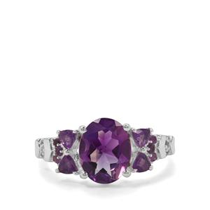Moroccan Amethyst, Amethyst & White Zircon Sterling Silver Ring ATGW 2.78cts