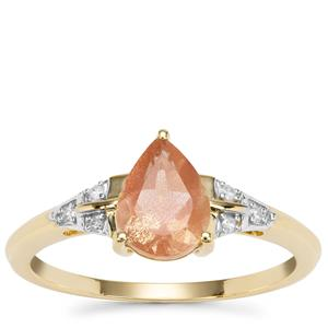 Peach Parti Oregon Sunstone Ring with Diamond in 9K Gold 1.04cts