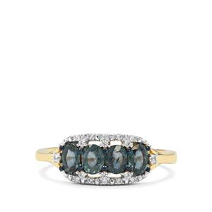 Natural Nigerian Blue Sapphire & White Zircon 9K Gold Ring ATGW 1.20cts