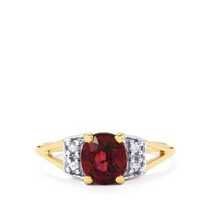Malawi Garnet Ring with Ceylon White Sapphire in 10K Gold 1.57cts
