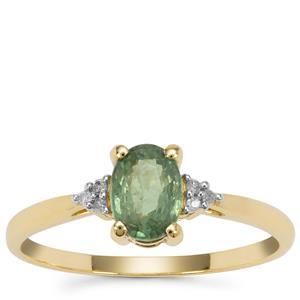 Green Dragon Demantoid Garnet Ring with Diamond in 9K Gold 0.90ct