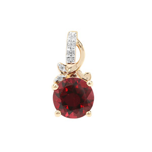 Mahenge Pink Garnet Pendant with White Zircon in 9K Gold 1.71cts