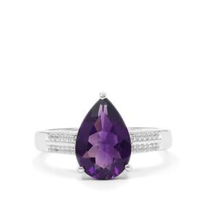 Zambian Amethyst Ring with White Zircon in Sterling Silver 2.85cts