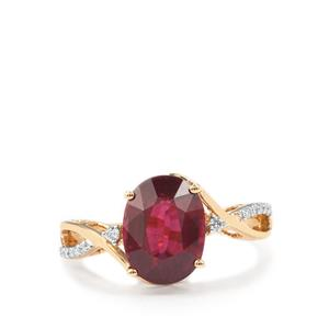 Malawi Garnet Ring with Diamond in 18K Gold 4.03cts