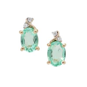 Siberian Emerald Earrings with White Zircon in 9K Gold 1.40cts