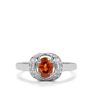 Cognac Zircon & White Topaz Sterling Silver Ring ATGW 1.50cts