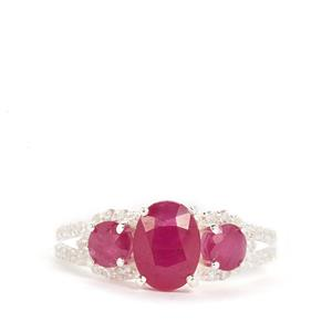 John Saul Ruby Ring with White Zircon in Sterling Silver 2.75cts
