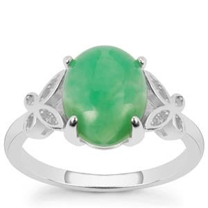Chrysoprase Ring with White Topaz in Sterling Silver 2.10cts