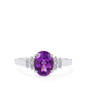 Moroccan Amethyst & White Topaz Sterling Silver Ring ATGW 1.80cts